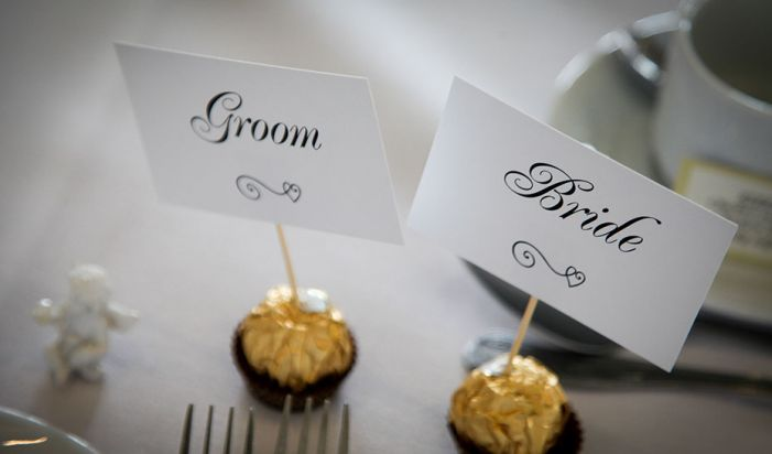 bride and groom placesettings