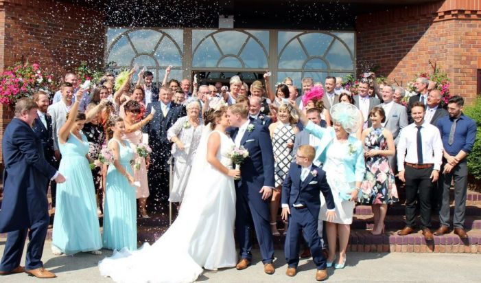 confetti on the steps, reception, wedding, family